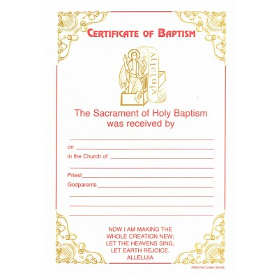 A5 Baptism Certificate