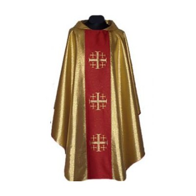 Gold Chasuble with Ornate Red Centre