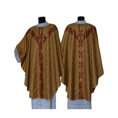 Gold semi gothic chasuble with matching stole