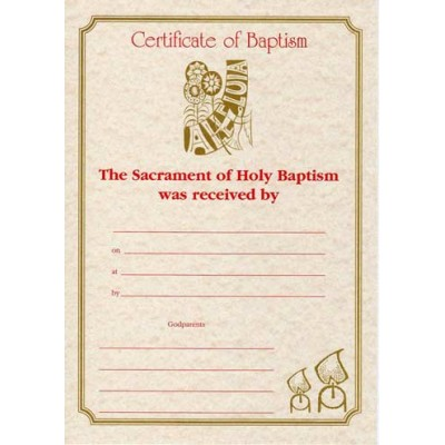 A4 Baptism Certificate